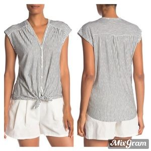 NWT Max Studio Striped Tie Front Shirt Size M